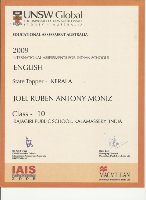 IAIS English  State Topper, 10th Standard