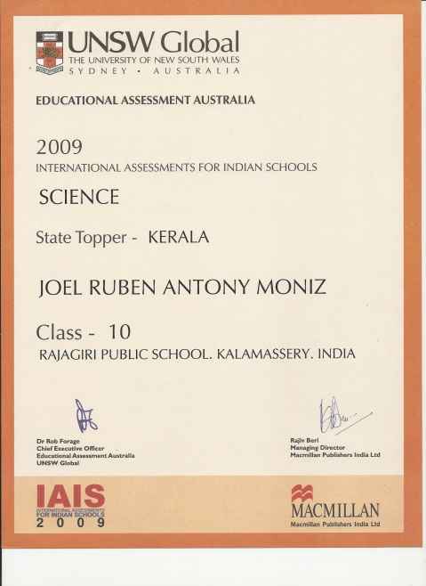 IAIS Science State Topper, 10th Standard