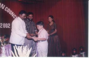 Receiving the GuruSishya medal