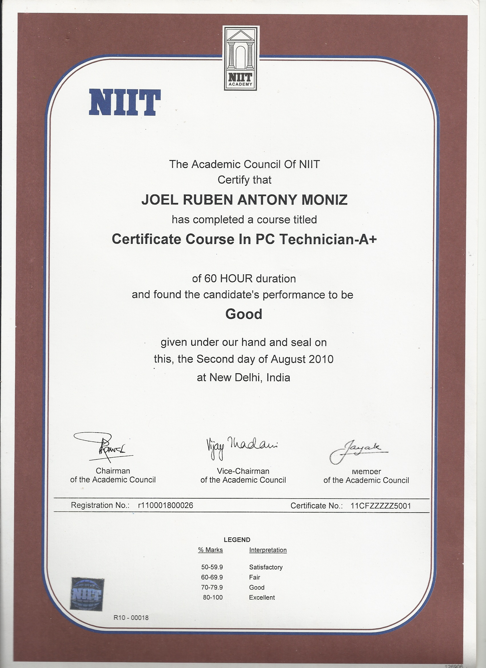 experience certificate format for computer hardware and networking pdf