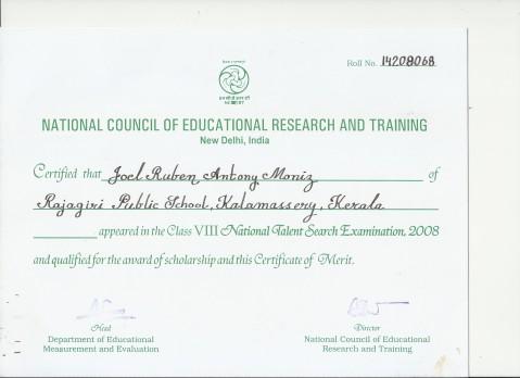 NTSE Certificate