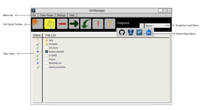 Git Manager GUI mock-up